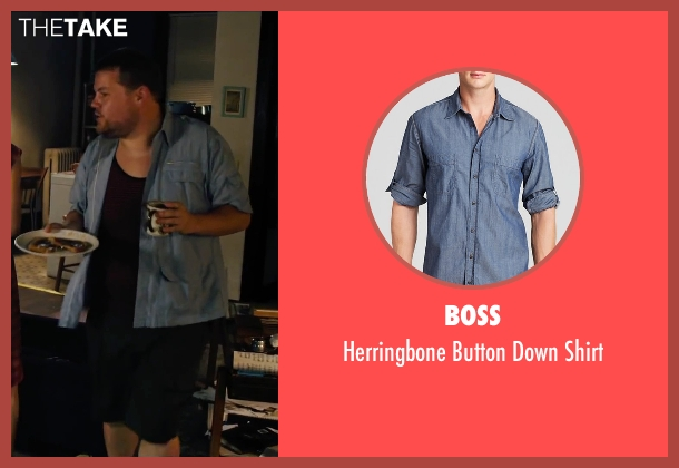 Boss blue shirt from Begin Again seen with James Corden (Steve)