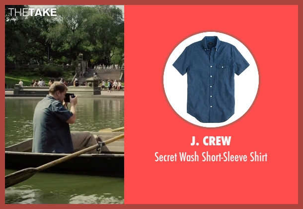 J. Crew blue shirt from Begin Again seen with James Corden (Steve)
