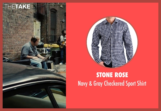 Stone Rose blue shirt from Begin Again seen with James Corden (Steve)