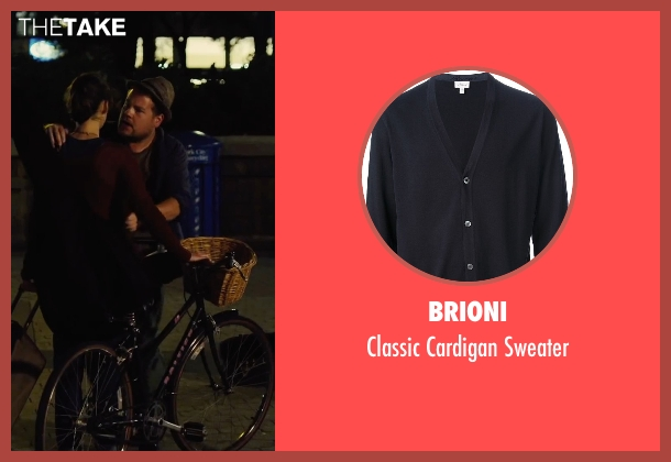 Brioni blue sweater from Begin Again seen with James Corden (Steve)