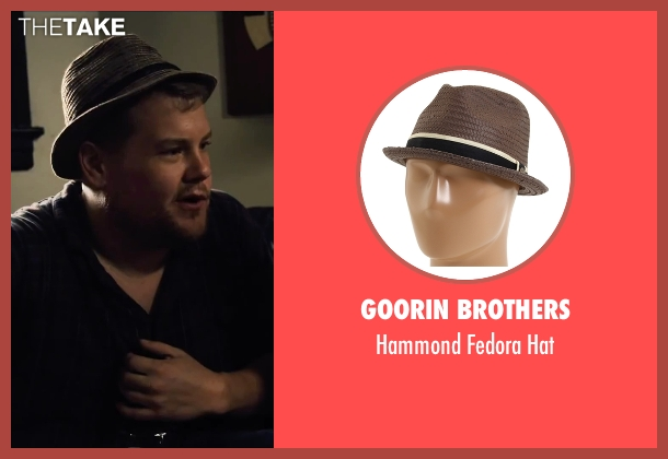 Goorin Brothers brown hat from Begin Again seen with James Corden (Steve)