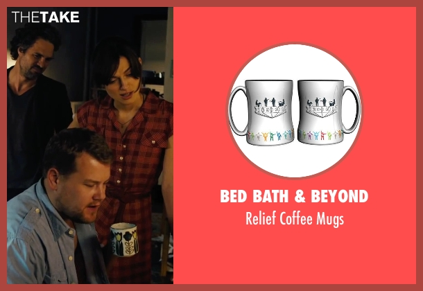 Bed Bath & Beyond mugs from Begin Again seen with James Corden (Steve)