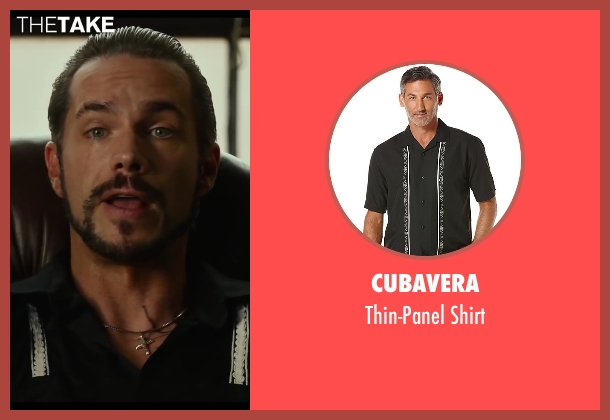 Cubavera black shirt from Let's Be Cops seen with James D'Arcy (Porter)