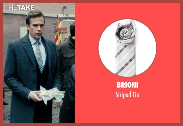 Brioni gray tie from Survivor seen with James D'Arcy (Paul Anderson)