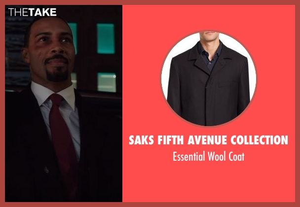 Saks Fifth Avenue Collection black coat from Power seen with James 'Ghost' St. Patrick (Omari Hardwick)
