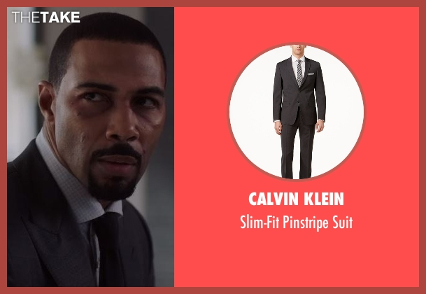 Calvin Klein gray suit from Power seen with James 'Ghost' St. Patrick (Omari Hardwick)
