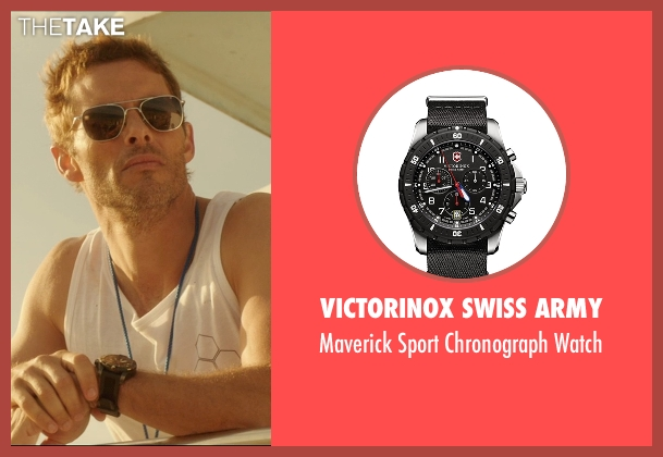 Victorinox Swiss Army black watch from The D Train seen with James Marsden (Oliver Lawless)