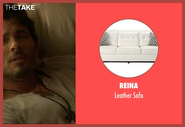 Reina sofa from The D Train seen with James Marsden (Oliver Lawless)