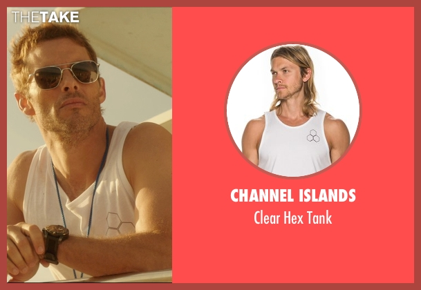 Channel Islands white tank from The D Train seen with James Marsden (Oliver Lawless)