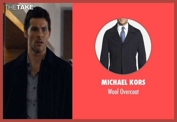 Michael Kors black overcoat from The Loft seen with James Marsden (Unknown Character)