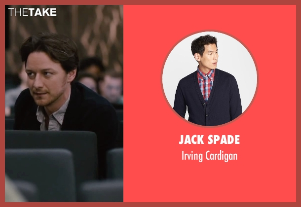Jack Spade blue cardigan from The Disappearance of Eleanor Rigby seen with James McAvoy (Conor Ludlow)