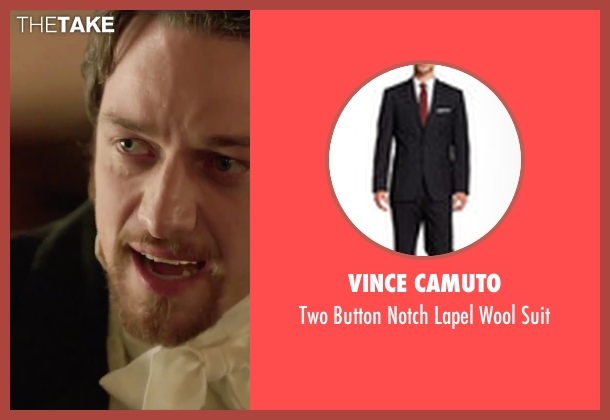 Vince Camuto black suit from Victor Frankenstein seen with James McAvoy (Victor Von Frankenstein)