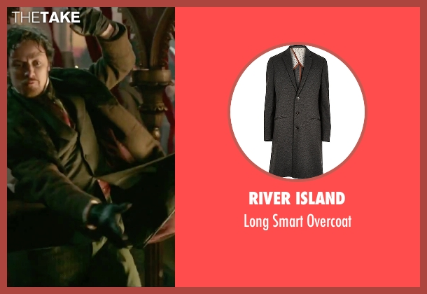 River Island gray overcoat from Victor Frankenstein seen with James McAvoy (Victor Von Frankenstein)