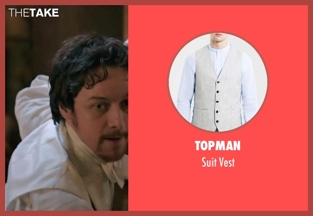 Topman gray vest from Victor Frankenstein seen with James McAvoy (Victor Von Frankenstein)