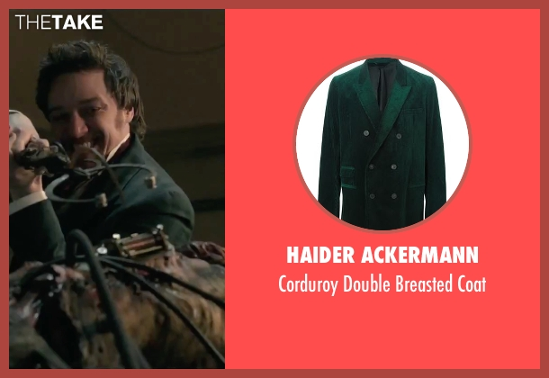 Haider Ackermann green coat from Victor Frankenstein seen with James McAvoy (Victor Von Frankenstein)