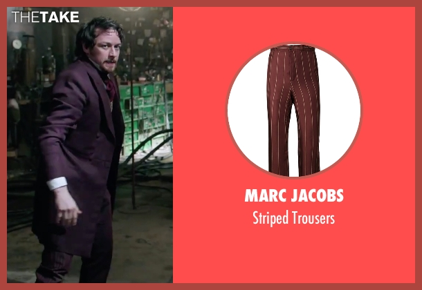 Marc Jacobs red trousers from Victor Frankenstein seen with James McAvoy (Victor Von Frankenstein)