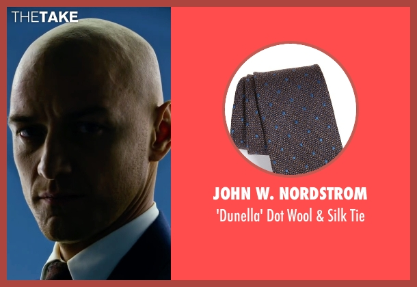 John W. Nordstrom brown tie from X-Men: Apocalypse seen with James McAvoy (Charles Xavier)