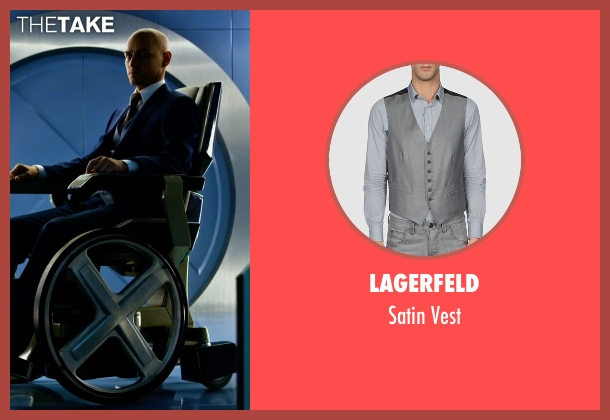 Lagerfeld gray vest from X-Men: Apocalypse seen with James McAvoy (Charles Xavier)