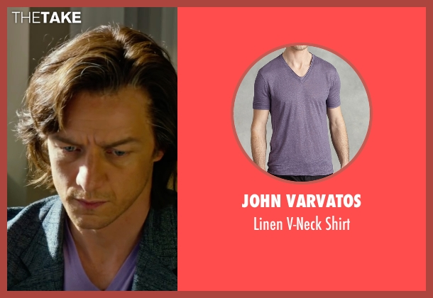 John Varvatos purple shirt from X-Men: Apocalypse seen with James McAvoy (Charles Xavier)