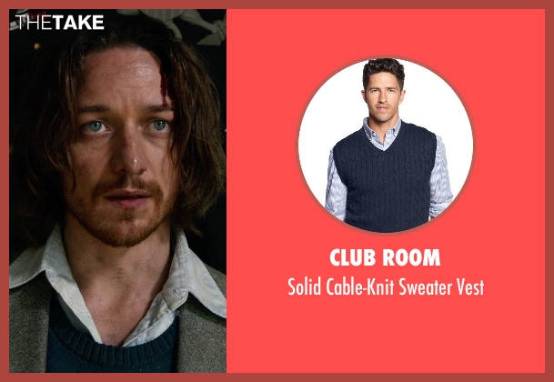 Club Room blue vest from X-Men: Days of Future Past seen with James McAvoy (Charles Xavier)