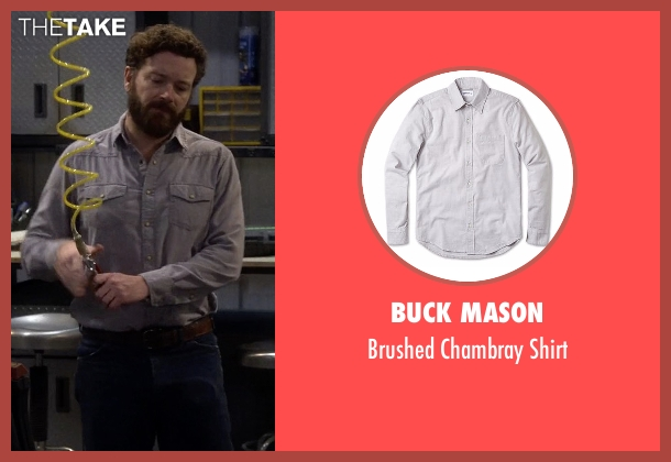 Buck Mason gray shirt from The Ranch seen with Jameson 'Rooster' Bennett (Danny Masterson)