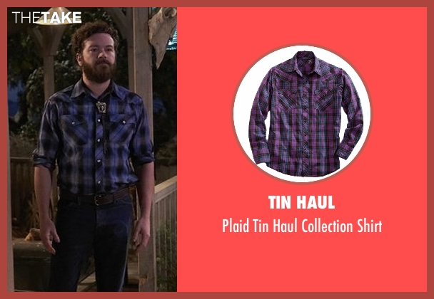 Tin Haul purple shirt from The Ranch seen with Jameson 'Rooster' Bennett (Danny Masterson)