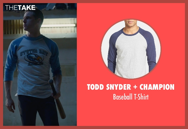 Todd Snyder + Champion blue t-shirt from Fantastic Four seen with Jamie Bell (Ben Grimm / The Thing)