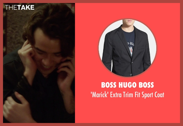 Boss Hugo Boss black coat from If I Stay seen with Jamie Blackley (Adam)