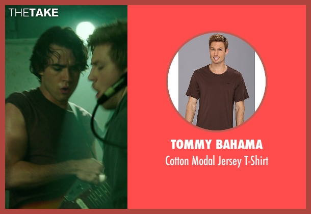 Tommy Bahama brown t-shirt from If I Stay seen with Jamie Blackley (Adam)