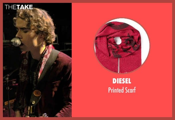 Diesel red scarf from If I Stay seen with Jamie Blackley (Adam)