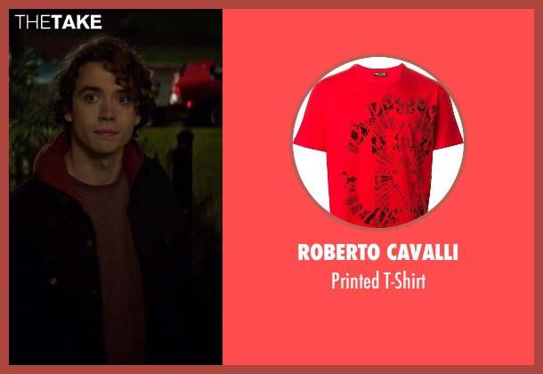 Roberto Cavalli red t-shirt from If I Stay seen with Jamie Blackley (Adam)
