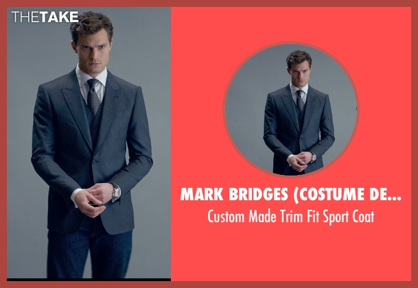 Mark Bridges (Costume Designer) gray coat from Fifty Shades of Grey seen with Jamie Dornan (Christian Grey)