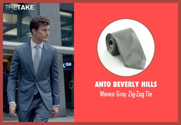 Anto Beverly Hills gray tie from Fifty Shades of Grey seen with Jamie Dornan (Christian Grey)