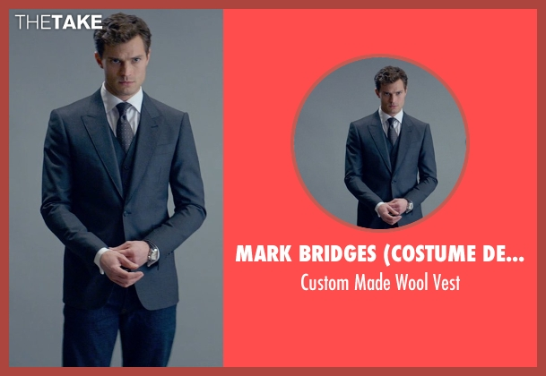 Mark Bridges (Costume Designer) gray vest from Fifty Shades of Grey seen with Jamie Dornan (Christian Grey)