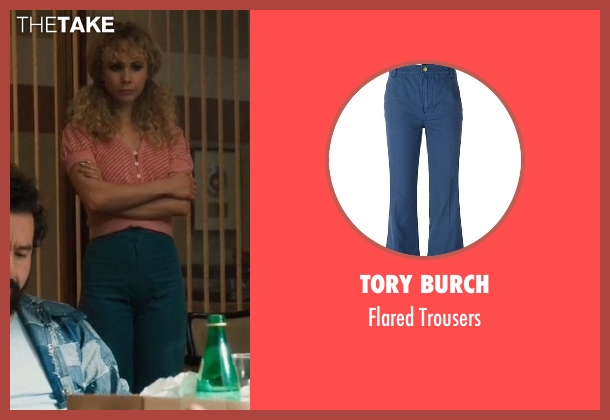 Tory Burch blue trousers from Vinyl seen with Jamie Vine (Juno Temple)