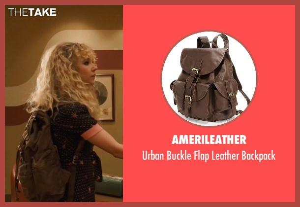 Amerileather brown backpack from Vinyl seen with Jamie Vine (Juno Temple)