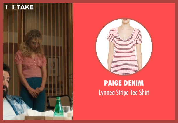 Paige Denim pink shirt from Vinyl seen with Jamie Vine (Juno Temple)