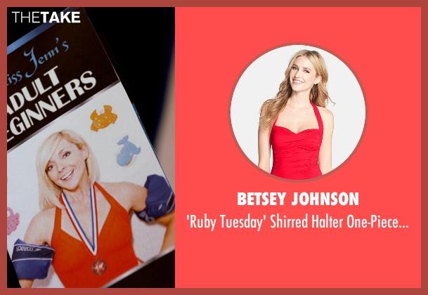Betsey Johnson red swimsuit from Adult Beginners seen with Jane Krakowski (Miss Jenn)