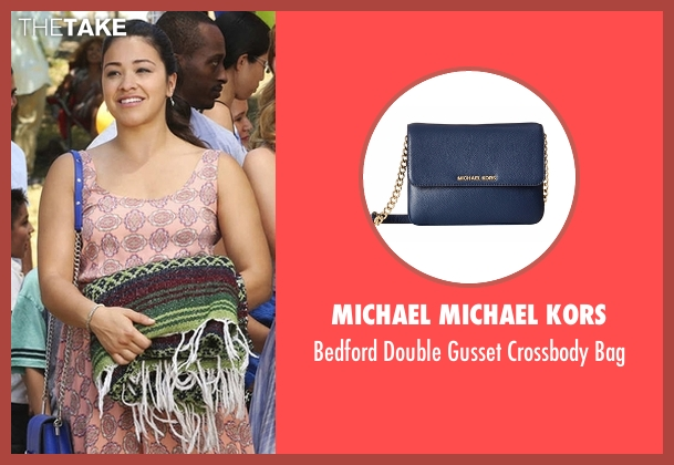 Michael Michael Kors blue bag from Jane the Virgin seen with Jane Villanueva (Gina Rodriguez)