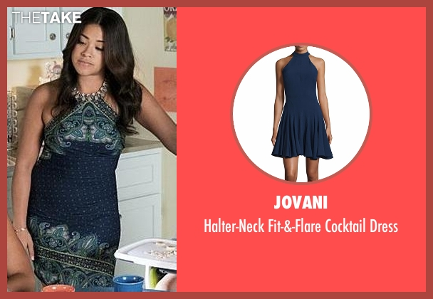 Jovani blue dress from Jane the Virgin seen with Jane Villanueva (Gina Rodriguez)