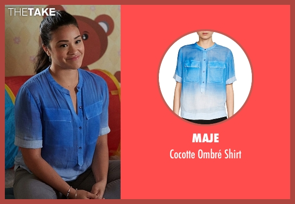 Maje blue shirt from Jane the Virgin seen with Jane Villanueva (Gina Rodriguez)