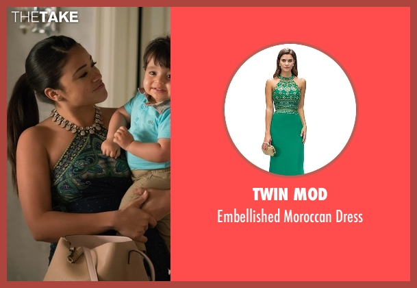 Twin Mod green dress from Jane the Virgin seen with Jane Villanueva (Gina Rodriguez)