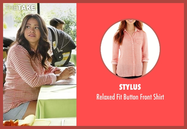 Stylus orange shirt from Jane the Virgin seen with Jane Villanueva (Gina Rodriguez)
