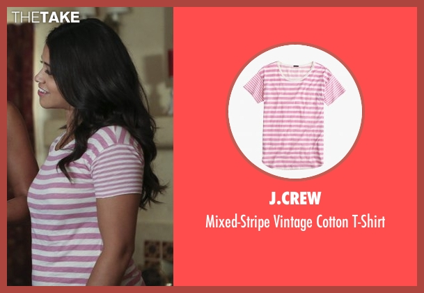 J.Crew pink t-shirt from Jane the Virgin seen with Jane Villanueva (Gina Rodriguez)