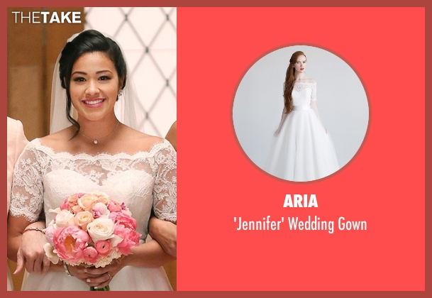 Aria white gown from Jane the Virgin seen with Jane Villanueva (Gina Rodriguez)