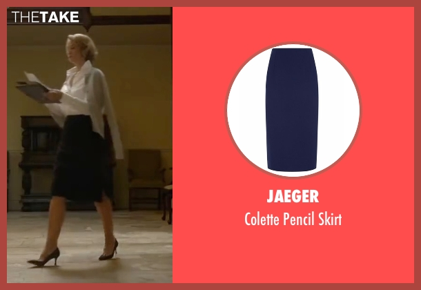 Jaeger  blue skirt from Me Before You seen with Janet McTeer (Camilla Traynor)