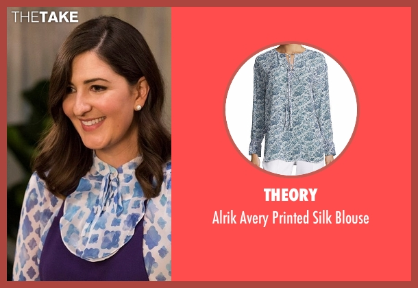 Theory blue blouse from The Good Place seen with Janet (D'Arcy Carden)