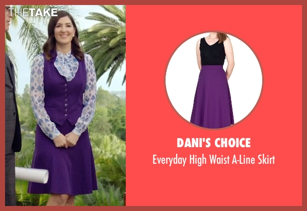 Dani's Choice purple skirt from The Good Place seen with Janet (D'Arcy Carden)