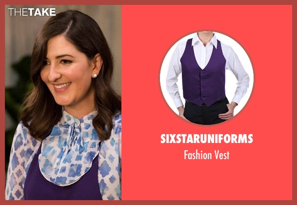SixStarUniforms purple vest from The Good Place seen with Janet (D'Arcy Carden)