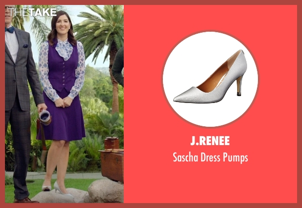 J.Renee silver pumps from The Good Place seen with Janet (D'Arcy Carden)